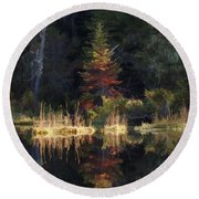 Huff Lake Reflection Round Beach Towel