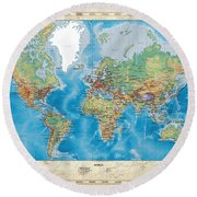 Huge Hi Res Mercator Projection Physical And Political Relief World Map Round Beach Towel