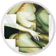 Round Beach Towel featuring the painting Hug_sold by Fei A