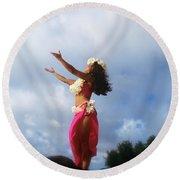 Hula Dancer Hawaii Round Beach Towel