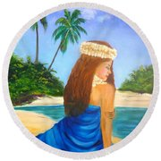 Round Beach Towel featuring the painting Hula Girl On The Beach by Jenny Lee