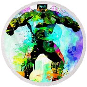 Hulk Watercolor Round Beach Towel