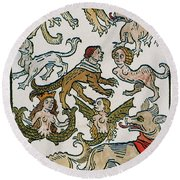 Human Monsters 1493 Round Beach Towel by Photo Researchers