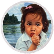Round Beach Towel featuring the painting Human-nature 48 by James W Johnson