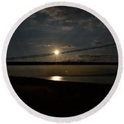 Humber Bridge Sunset Round Beach Towel