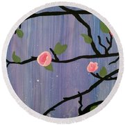 Round Beach Towel featuring the painting Humble Splash by Marisela Mungia