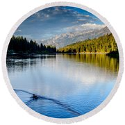 Hume Lake Evening Round Beach Towel