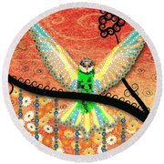 Round Beach Towel featuring the digital art Hummer Love by Kim Prowse