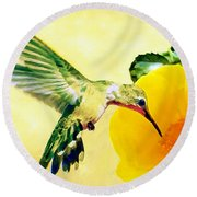 Hummingbird And California Poppy Round Beach Towel