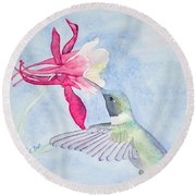 Hummingbird And Columbine Round Beach Towel