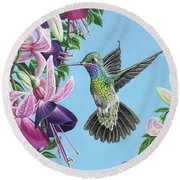 Hummingbird And Fuchsias Round Beach Towel