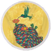 Hummingbird And Prickly Pear Round Beach Towel by Susie Weber