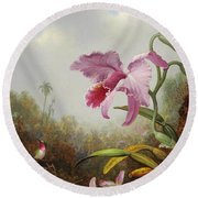 Hummingbird And Two Types Of Orchids Round Beach Towel by Martin Johnson Heade