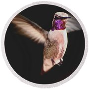Round Beach Towel featuring the photograph Hummingbird Male Anna In Flight  by Jay Milo
