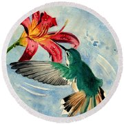 Hummingbird Round Beach Towel by Melly Terpening