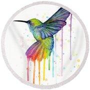 Hummingbird Of Watercolor Rainbow Round Beach Towel