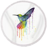 Hummingbird Of Watercolor Rainbow Round Beach Towel