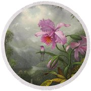 Hummingbird Perched On The Orchid Plant Round Beach Towel by Martin Johnson Heade