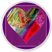 Round Beach Towel featuring the painting Hummingbird Spreads Peace And Love by Kimberlee Baxter