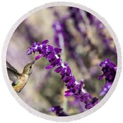 Round Beach Towel featuring the photograph Hummingbird Collecting Nectar by David Millenheft