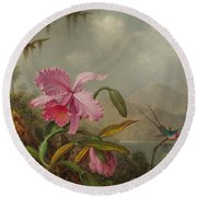 Hummingbirds And Orchids Round Beach Towel