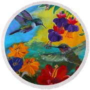 Hummingbirds Prayer Warriors Round Beach Towel