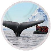 Humpback Whale Fluke  Round Beach Towel