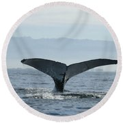 Humpback Whale Tail 3 Round Beach Towel