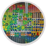 Hundertwasser The Three Skins In 3d By J.j.b. Round Beach Towel