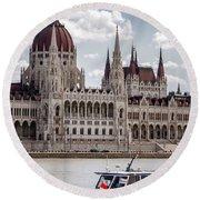 Hungarian Parliament Across The Danube Round Beach Towel