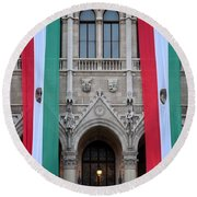Hungary Flag Hanging At Parliament Budapest Round Beach Towel