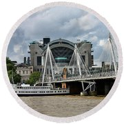 Hungerford Bridge And Charing Cross Round Beach Towel
