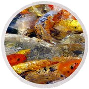 Hungry Koi Round Beach Towel