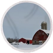 Round Beach Towel featuring the photograph Hunterdon County Landscape by Steven Richman