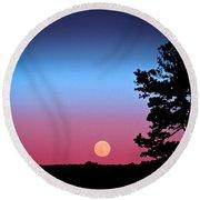 Hunter's Moonrise In Eastern Arizona Round Beach Towel by John Haldane