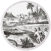 Hunting Alligators In The Southern States Of America Round Beach Towel by Theodor de Bry