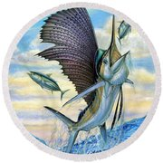 Hunting Of Small Tunas Round Beach Towel