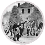 Hunting Party, 1882 Round Beach Towel