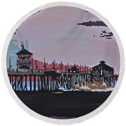 Huntington Beach Pier 1 Round Beach Towel