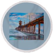 Huntington Beach Pier 2 Round Beach Towel