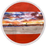 Huntington Beach Pier 3 Round Beach Towel