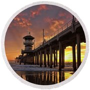 Huntington Beach Pier Round Beach Towel