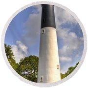 Round Beach Towel featuring the photograph Huntington Island Lighthouse by Deborah Klubertanz