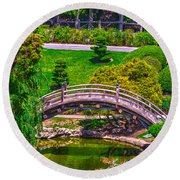 Huntington Library Ca Round Beach Towel by Richard J Cassato