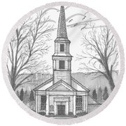 Hurley Reformed Church Round Beach Towel