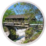Round Beach Towel featuring the photograph Hurricane Irenes Destruction by Sherman Perry