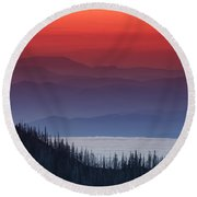 Hurricane Ridge Sunset Round Beach Towel