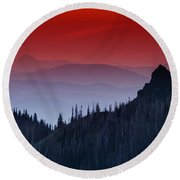 Hurricane Ridge Sunset Vista Round Beach Towel