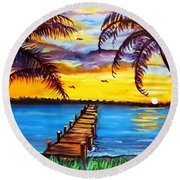 Hurry Sundown Round Beach Towel by Ecinja Art Works