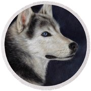 Husky Portrait Painting Round Beach Towel